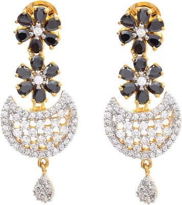 JewelAway Moon Black Stone Brass Drop Earring