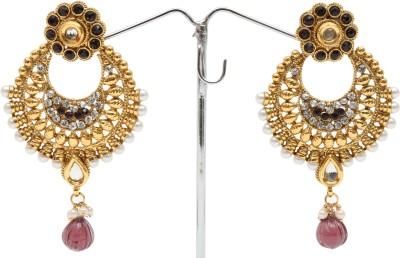 Donatella Spring Sparkle Zircon, Quartz Brass Chandbali Earring