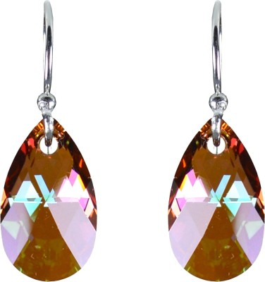 Pearl Paradise Forest Flame Swarovski Crystal Silver Dangle Earring