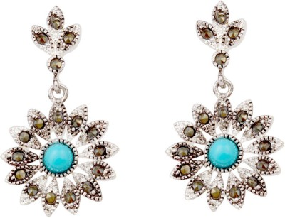 Sparkling Drop Celeistial Cubic Zirconia, Turquoise Stainless Steel Drop Earring