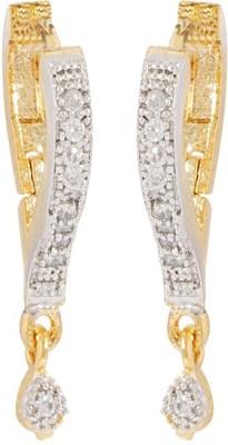 Voylla Precious Classic Glossy Cubic Zirconia Sterling Silver Hoop Earring