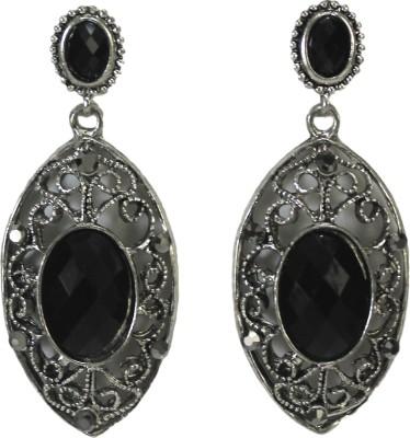Bandish oxidised look Black stone oval Alloy Drop Earring