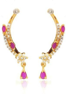 Luxor Pink Designer Cz Brass Cuff Earring