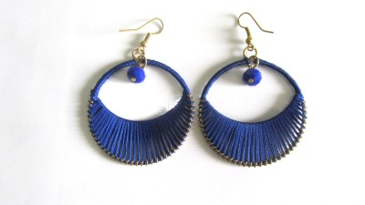 Peruvian Silk Thread Metal Dangle Earring