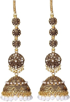 Giftmania ROYAL TRADITIONAL ANTIQUE Pearl Brass Jhumki Earring