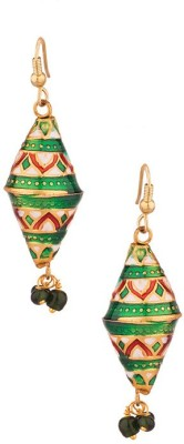 Gemshop Enamel With Red Beads Dropping Alloy Dangle Earring
