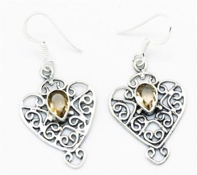 YugshaJewels Sparkling YJE-897 Citrine Sterling Silver Dangle Earring