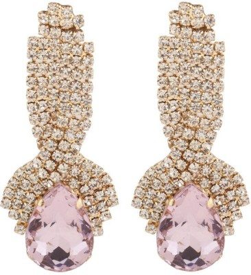 RIANZ New Elegant Gold Plated Pink Color Stone and Crystals Alloy, Crystal Dangle Earring