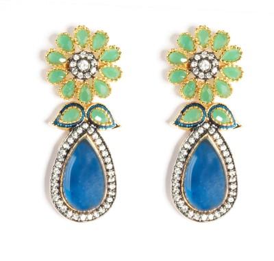 Saraa Floral Spark Cubic Zirconia Metal Dangle Earring