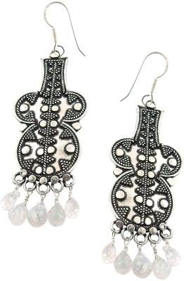 Miska Silver White Moonstone Silver Dangle Earring