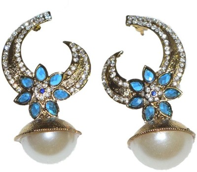 Mrinalini Ocean Blue Floral Alloy Drop Earring