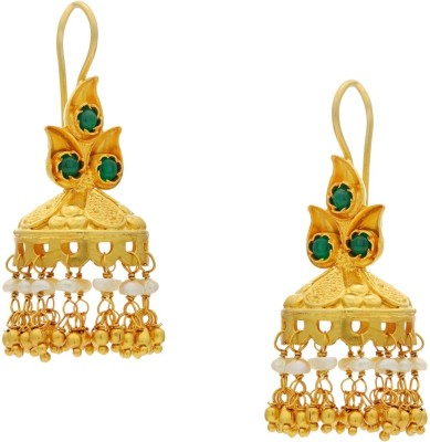 Krishna Pearls & Jewellers Princess Delight Onyx Silver Dangle Earring