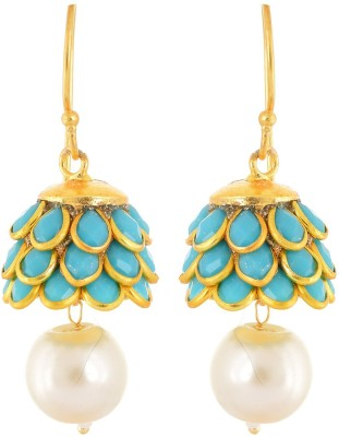 Rajasthani Traditions Pacchi Collection Pearl Brass Jhumki Earring