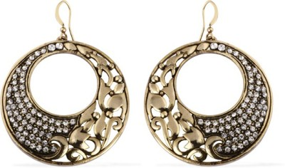 The Fine World Gold Metal Loops With Shimmering Stones Zircon Metal Dangle Earring