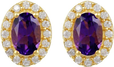 Exxotic Jewelz Designer Sparkle Amethyst Sterling Silver Stud Earring