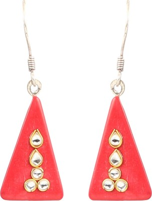 Jewel Funk Red Stone Studded Plastic Dangle Earring