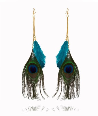 Rooh Jewellery Feather Peacock Pride Fabric Dangle Earring