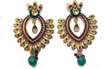 LZBLING GOLDEN WITH COLORED PEARLS Metal Drop Earring