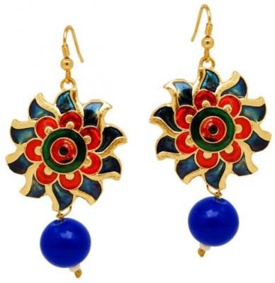 Jewelskaro Rajasthani Jewellery fashion Design Flower Style Blue Meenakari for Women & Girls Beads Brass Dangle Earring