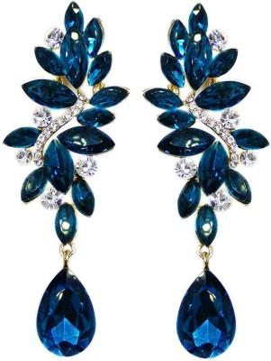 000 Fashions Dark Blue Sapphire Crystal Leaf Alloy Drop Earring