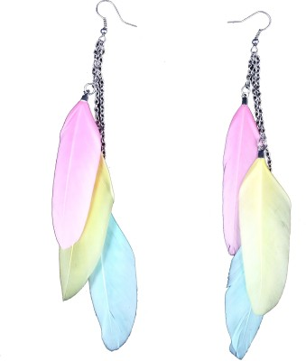 Ammvi Tri-Shades Feather For Women Alloy Dangle Earring