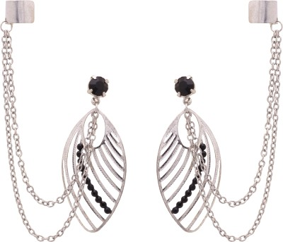 Sankisho Leaf On Stud Metal, Alloy, Glass Cuff Earring