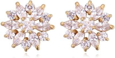Atasi International Swiss Zircon Gold Plated Crystal Alloy Stud Earring