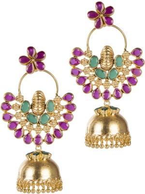 Mehtaphor Reva Crystal Brass Jhumki Earring