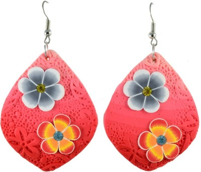 High Trendz Peach With Flowers Ceramic Dangle Earring