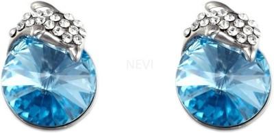 Nevi Blue Stud Crystal, Swarovski Crystal Metal, Crystal Stud Earring