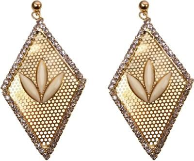 Modish Look Golden Rhombus Shape Brass Chandelier Earring