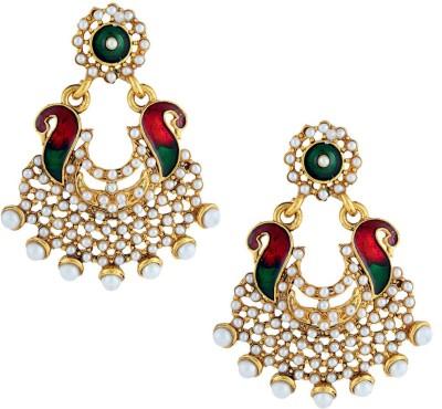 Gold & More Peacock Design Pearl Alloy Chandbali Earring