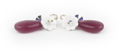 Jewelfin White Flower Alloy Drop Earring