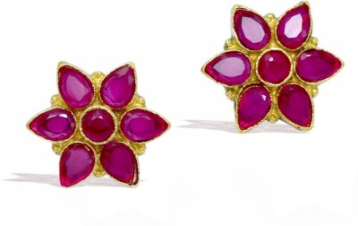 Jaipur Mart Flower Shape Maroon Color AD Tops Brass Stud Earring