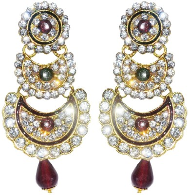 Royal Touch Hot Simulate Crystal Luxury Gold Plated Indian Wedding Long Bridal Brass Chandelier Earring
