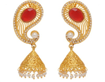 Jaipur Mart New Traditional Koyari Design Maroon Alloy Jhumki Earring