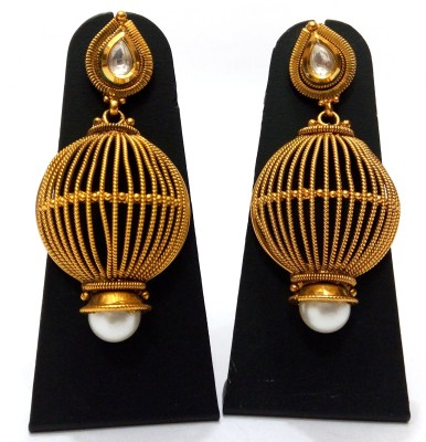Womaniya Gold cage Alloy Drop Earring