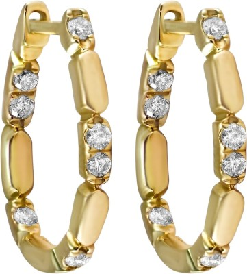 Gold24.in All Time Diamond Yellow Gold Hoop Earring