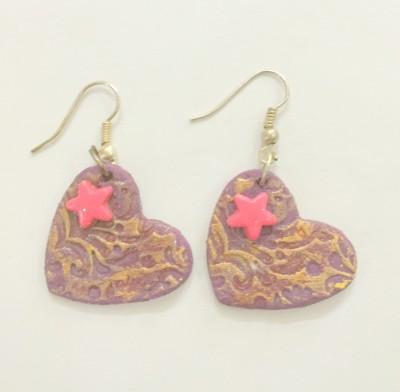 Craffiti Self Design Heart Clay Ceramic Drop Earring