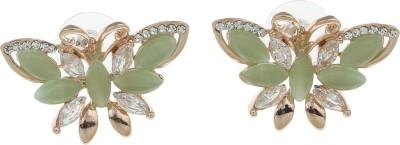 Golden Peacock Style Diva Cat's Eye, Cubic Zirconia Alloy Stud Earring