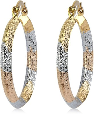 Silverstoli sparkle New Design Three tone Alloy Hoop Earring