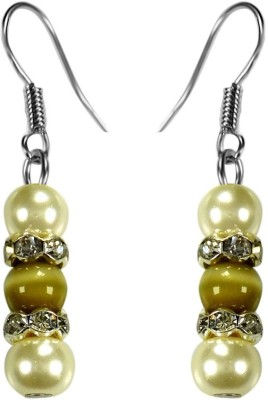Crystals & Beads Green Colour Round Cats Eye & White Pearl Bead with Diamond Spacer Acrylic, Glass, Crystal Dangle Earring