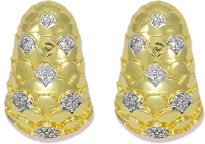 Zaveri Pearls Sparkling Gold Semi Precious CZ Stones Cubic Zirconia Brass Clip-on Earring