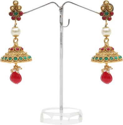 Kashvi Spring Sparkle Pearl, Agate Brass Jhumki Earring