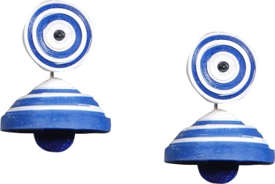 Scion Blue Stripes Paper Jhumki Earring