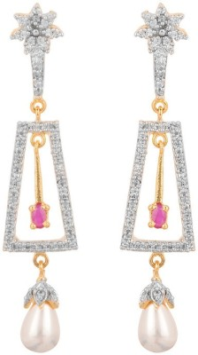 Rajwada Arts Stylish American Diamond Brass Drop Earring