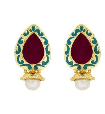 BeBold Drop Pearl Stone Brass Drop Earring