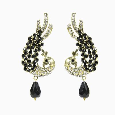 Artisan Splendid Black & Golden Peacock Metal Jhumki Earring