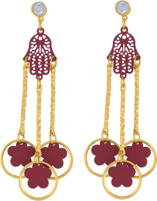 Pink Rose Passion Metal Chandelier Earring