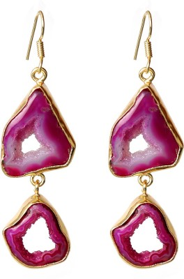 Prystal Abstract Pink Agate Coral Alloy Dangle Earring